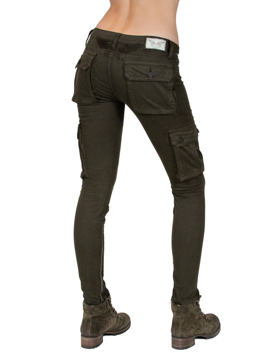 Brilliant WOMENS DARK OLIVE GREEN KHAKI GREEN SKINNY JEANS On The Hunt
